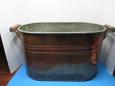 Vintage Copper Plated Tin Bath Tub/Wash Bin Double Wooden Handles VSL