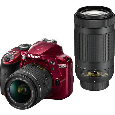 Nikon D3400 Digital SLR Camera & 18-55mm VR & 70-300mm DX AF-P Lenses (Red)