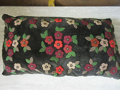 Antique Victorian Black Velvet Glass Beaded Pillow Floral Design