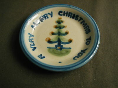 MA HADLEY MINI PIN POTTERY DISH - A VERY MERRY CHRISTMAS TO YOU W/ TREE - gh
