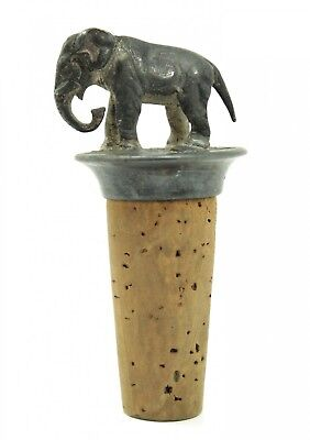 Antique Early 20c Figural Elephant Silver SP Liquor Decanter Wine Bottle Stopper
