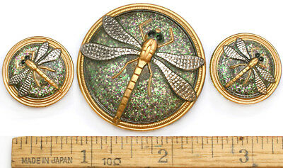 42mm 22mm Vintage Czech Glass Silver + Gold DRAGONFLY Mother/Daughter Buttons 3