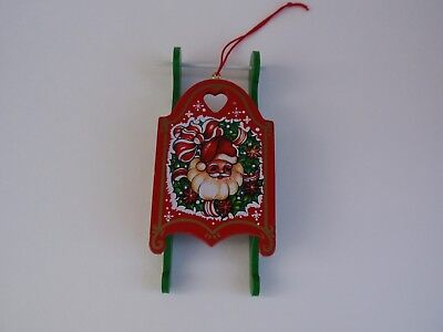 Vintage Wood Wooden Sled Christmas Ornament Santa Face Wreath Snowflakes Taiwan
