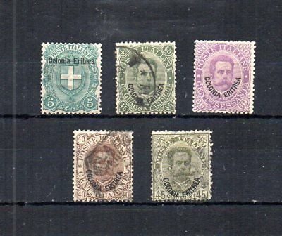 Italian Eritrea Late 1800S-Early 1900S. 5 Unused And Postally Used.