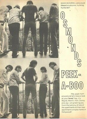 The Osmond Brothers, Bobby Sherman, Full Page Vintage Clipping, Osmonds, Donny