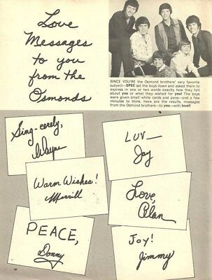 The Osmond Brothers, Mitch Vogel, Full Page Vintage Clipping, Osmonds, Donny