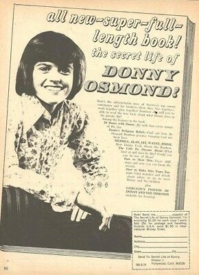 Donny Osmond, Osmond Brothers, Full Page Vintage Clipping Ad, Osmonds
