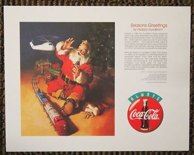 Vintage look Print Santa Claus Coca-Cola Coke Seasons Greetings Haddon Sundblom