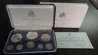 1973 First National Coinage of Barbados Proof Set with COA & Box