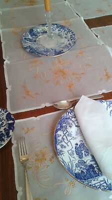 Lovely Antique 17 piece set Embroidered Organza Runner, Placemats, Napkins