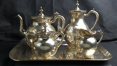 Solid Sterling Silver Antique Tea and Coffee Set with Tray Mexican made Set