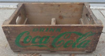 RP2187 Vintage Coca Cola Coke Soda Pop Wood Wooden Crate Case w/ Green Lettering