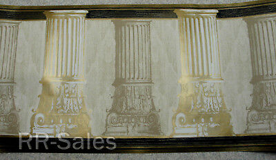Architectural Columns Greek Roman Royal Gold Accents Fancy Wallpaper Wall Border