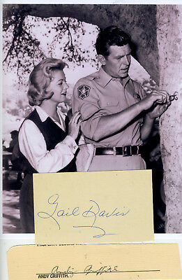 Gail Davis  & Andy Griffith  2 Signatures With In Role From Andy Griffith Show