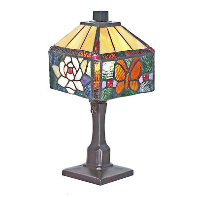 "Tiffany Style 1.75""H Stained Glass Rose Butterfly Accent Lamp"