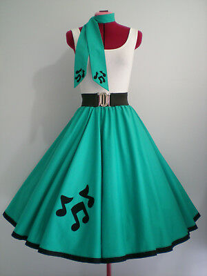 "ROCK N ROLL/ROCKABILLY ""Music Notes"" SKIRT-SCARF S-M Jade."