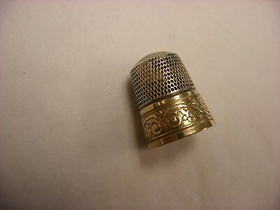 Antique Vtg Sewing Notion - Sterling Silver Sewing Thimble Size 10 Gold Plate