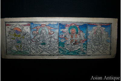 Mongolian Buddhist block print Drawing Painting  Mongolia #a3022