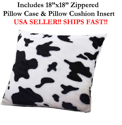 """18"""" 18in 18x18 MOO COW ANIMAL PRINT FLUFFY Zippered Pillow Throw Case & Cushion"""