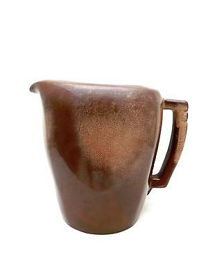 "Frankoma Pottery 96 Oz Ice Lip Pitcher 8"" Plainsman Brown w GoldenHighlights"