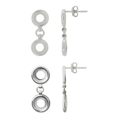 Sterling Silver Dangle Stud Posts Earrings for Gluing Rivoli 1122 Crystals