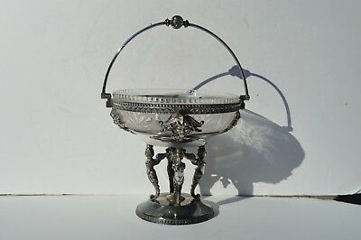 Very Ornate Antique Victorian Silver Plated Fruit/candy Bowl W. Cut Galss Insert
