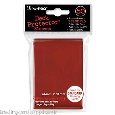 50 Ultra Pro Trading Card Sleeves - Standard Red Deck Protectors.
