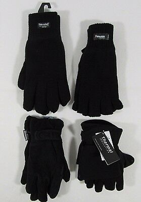 Mens Thermal Gloves Fingerless Full Finger Winter Mitten Magic Stretch Fleece