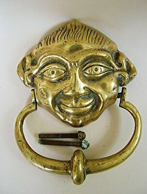 Antique Heavy Solid Brass Gothic ' Lincoln Imp (?) Door Knocker