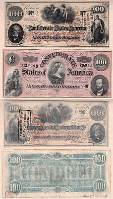 NO RESERVE PRICE AUCTION: 1862 & 1864 $100 Confederate States of America Notes