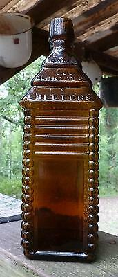 DRAKES PLANTATION BITTERS BOTTLE-Six Log-Medium Orange Amber-Mint-1860s