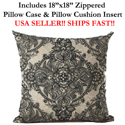 "18x18 18"" Zen Mandala Bohemia Paisley Meditation Zippered Throw Pillow Cushion"