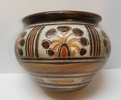 Italian Pottery Wall Pocket Orange and Brown Designs Large