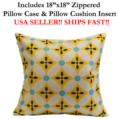 "18x18 18"" YELLOW HARLEQUIN AZTEC DIAMONDS Zippered Throw Pillow Cushion Mosaic"