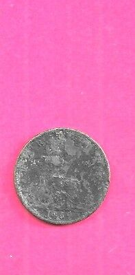 Great Britian Gb Uk Farthing Km747.2 1869 Fine-Nice Old Antique Vintage Coin