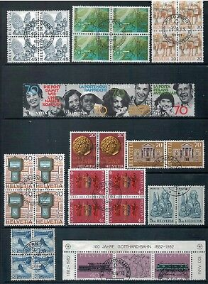 SWITZERLAND - Mixed lot of Blocks, Strips, Pairs, Good - Fine Used, LH  (1 Scan)