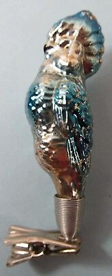 "Glass 602 Ornament Clip on Czech Vintage Blue Exotic Bird 4"" Tall Excellent Cond"