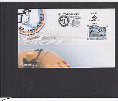 Spain 2017 Antarctic Investigation penguin First Day Cover Madrid fdi slogan pmk