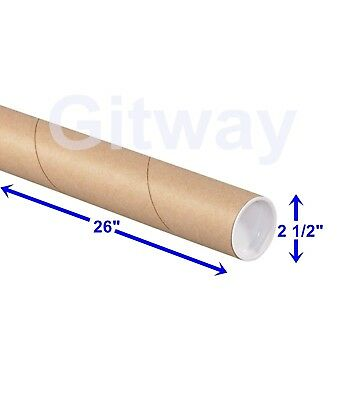"2 1/2"" x 26"" Cardboard Poster Blueprint Shipping Mailing Postal Tubes with Caps"