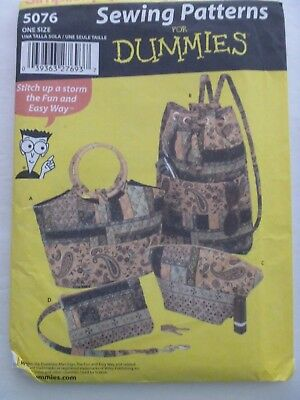 Simplicity 5076 Totes Purses Bags Sewing For Dummies Pattern