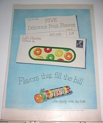 1951 Life Savers Candy With The Hole Advert ~ Fills The Bill