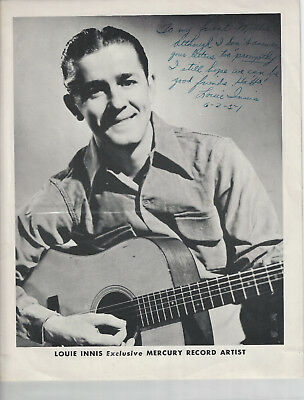 Louie Innis 4 Pages w/27 Photos 1 is Signed - Grand Ole Opry