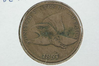 1857 Flying Eagle Cent VG Lamination Error Reverse