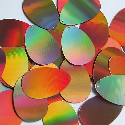 """Silver Lazersheen Reflective Metallic Sequins Oval 2/"""" Large Couture Paillettes"""