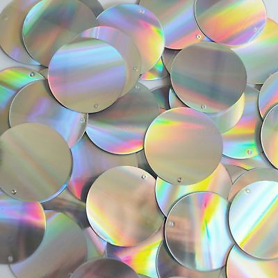 Round Sequin 30mm Silver Laser Light Show Metallic Loose Couture Paillettes
