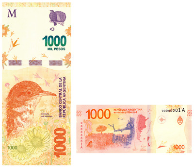 Argentina NEW 1000 Pesos  2017 Banknote UNC New Design free Shipping worldwide