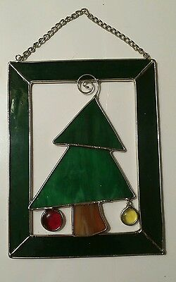 Suncatcher Christmas Tree Holiday Window Ornament Stained Glass Green Silvertone