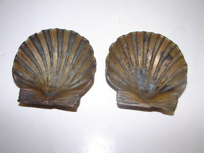 """pair of Antique sgd PP heavy bronze scallop shell footed 4"""" tray inscrbed mark t"""
