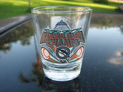 A World Series  Florida Marlins 1997 Shot Glass  Original Sticker World Champs
