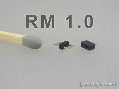 30x Micro Steckerset 3-polig RM 1,0 connector pin plug Steckverbinder pitch grid